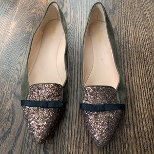 Nine West Sued and gold glitter flats